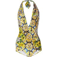 Dolce & Gabbana Printed halterneck swimsuit (525 BGN) ❤ liked on Polyvore featuring swimwear, one-piece swimsuits, swimsuits, swim, d&g, bathing suits, bright yellow, swim suits, yellow one piece swimsuit and yellow bathing suit