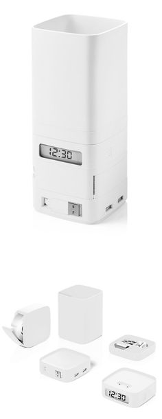 Totem desk organizer - includes clock and USB hub
