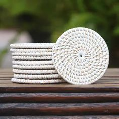 Buy Bamboo and plastic coasters, 'Lombok Circles in White' (set of today. Shop unique, award-winning Artisan treasures by UNICEF Market. Each original piece goes through a certification process to guarantee best value and premium quality. Basket Weaving, Hand Weaving, Pine Leaf, Charity Gifts, Buy Bamboo, Gift Suggestions, Lombok, White Vinyl, Coaster Set