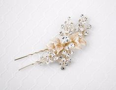 Bridal Hair Pin of Leaves and Crystal Sprays from Cassandra Lynne