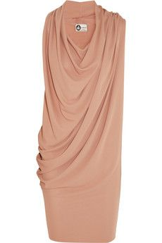 Lanvin Draped crepe dress | NET-A-PORTER - Hey ladies, this dress could work for you. Many round figure women carry their weight in their tummies. This dress does a great job of camouflaging that area.  Also, most of my clients who have a round figure have G-R-E-A-T legs. You can show it off in this beauty.  By the way my Rectangular shaped ladies could also wear this because of the draping on the one side.