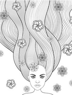 beautiful hair coloring pages for adults free download   Colouring ...