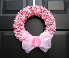 Find a Cure Pink Breast Cancer Awareness  Beaded  Wreath. $55.00, via Etsy. #VikingPINK