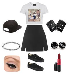 """No new friends"" by apples700 ❤ liked on Polyvore featuring Topshop, Vans, Boohoo, LORAC and MAC Cosmetics"