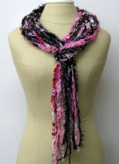 Pink black licorice braids Gypsy Fringe Scarf by PurpleSageDesignz, $ 17.00