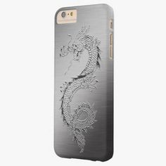 Cute iPhone 6 Case! This Vintage Dragon Brushed Metal Look Barely There iPhone 6 Plus Case can be personalized or purchased as is to protect your iPhone 6 in Style!