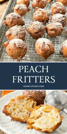 Peach Fritters - Enjoy fresh summer peaches in this crispy, sweet treat! These fritters can also be made with frozen or canned peaches with fresh peaches are out of season. #fritters #peaches Fruit Recipes, Brunch Recipes, Sweet Recipes, Dessert Recipes, Summer Recipes, Great Desserts, Delicious Desserts, Bite Size Food, Recipes