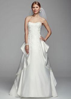 Oleg Cassini Satin Cascading Detail Wedding Dress