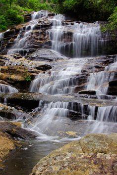 Glen Falls in Highlands NC - waterfall in Nantahala National Forest