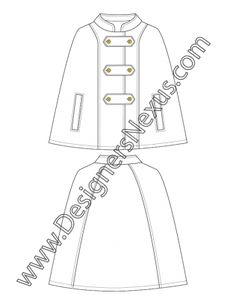 011- technical flat sketch mandarin collar cloak - FREE download and more flat fashion sketches in Illustrator & .png at designersnexus.com!