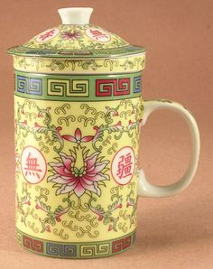 Chinese Yellow and Green Ceramic Tea Cup or Mug with Strainer and Lid