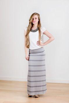 grey/white stripe maxi