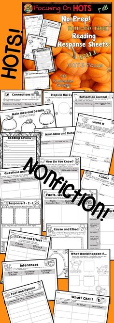 48 Reading Response Sheets all connected to Higher Order Thinking Skills! No-prep! Just print and handout! But these aren't just regular worksheets! This product has reading response sheets based on higher order thinking skills. Students can respond to re Reading Resources, Reading Activities, Classroom Activities, Teacher Resources, Beginning Reading, Beginning Of The School Year, Reading Comprehension Skills, Reading Strategies, Reading Response