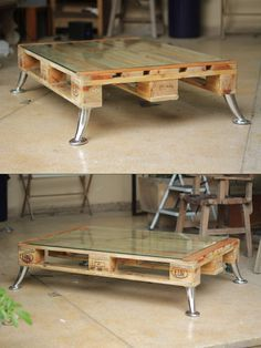 DIY instructions for a pallet coffee table with hairpin legs, furniture yourself .DIY instructions for a pallet coffee table with hairpin legs, furniture yourself . Pallet Patio Furniture, Furniture Projects, Diy Furniture, Furniture Design, Palette Furniture, Furniture Plans, Diy Pallet Projects, Wood Projects, Pallet Ideas