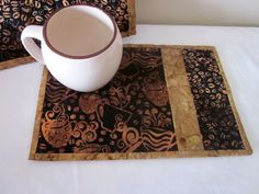 Mug Rug Snack Mat Coaster Quilted Coffee by SarahsFabCreations, $16.00