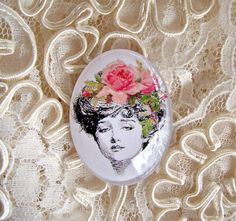 Gibson Girl Pink Roses 30X40mm Glitter Unset Handmade Art Bubble Cameo Cabochon #Handmade #Cameo