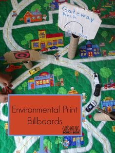 Environmental Print Billboards Environmental writing is everywhere, and kids notice it! Create your own DIY billboards to enhance your child's Hot Wheels town and encourage his early learning skills. Preschool Literacy, Preschool At Home, Kids Learning Activities, Writing Activities, Educational Activities, Learning Skills, Transportation Theme Preschool, Environmental Print, Skills To Learn