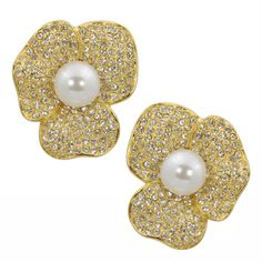 Pearls and Gold are the PERFECT combination <3 - Kenneth Jay Lane Large Gold Petal Pearl Centre Flower Earrings