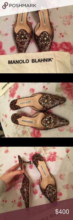 Manolo Blahnik Mules These are made from python skin and had beading on the front. Size 6 authentic.  Doesnt come with a box slight wear only on the bottom no damage anywhere else. Manolo Blahnik Shoes Mules & Clogs