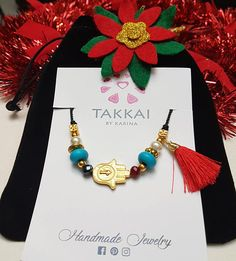 Hand-adjustable Fatima bracelet with semi-precious stones and