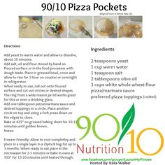 90/10 Pizza Pockets Freezer Friendly Join: Launch My Fitness www.facebook.com/groups/LaunchMyFitness for more Healthy recipes!!