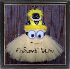 Deluxe - 2 in a MINION - DESPICABLE ME Inspired - Halloween Costume Tutu Dress & Headband - Sizes 0, 3, 6, 9, 12, 18, 24 Mos, 2t, 3t, 4t, 5t