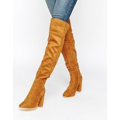 Daisy Street Tan Block Heel Over The Knee Boots ($81) ❤ liked on Polyvore featuring shoes, boots, tan, thigh boots, cuffed boots, thigh high boots, over knee boots and tan boots