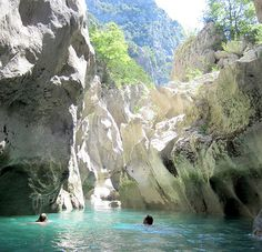 Upstream from Lac de St Croix, Gorges du Verdon. Swimming on the Sentier de l'lmbut