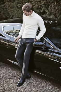 With a ride like this the streamlined tailored look of a cream tactical turtleneck, well tailored slacks, and some nice Italian loafers you earn the question: billionaire or secret agent?