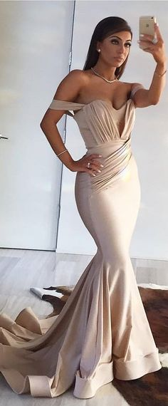Modest Acetate Satin Off-the-shoulder Neckline Mermaid Evening Dresses