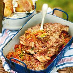 BBQ-Steaks mit Knoblauchkartoffeln und Chimichurri