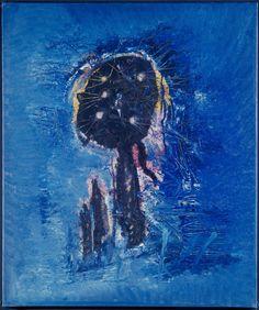 Wols - Le fantome bleu, 1951, oil, grattage, tube marks and finger prints on canvas