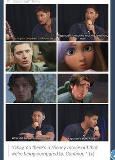 Jensen being told about the Supernatural/Tangled meme consisting of the middle four pictures. ^_^
