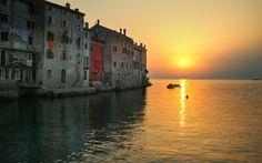 Download wallpapers Rovinj, Croatia, sunset, sea, Istria, Adriatic Sea