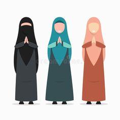 Flat Design Illustration, Cute Illustration, Arabic Characters, Character Flat Design, Anime Muslim, Cartoon Photo, Cute Cartoon Drawings, Muslim Women, Aesthetic Art