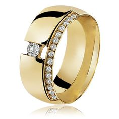 Aliança de Ouro Celeste Round Diamond - lojasrubi