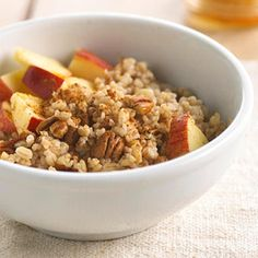 Roll out of bed to this fabulous hot breakfast cereal recipe that's been cooking overnight in your slow cooker. Before serving, top with pecans, chopped apples, and honey for more crunchy, gooey goodness.