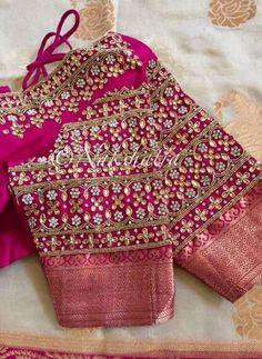 Nakshatra Design Studio By Sushmita Wedding Saree Blouse Designs, Saree Blouse Neck Designs, Simple Blouse Designs, Maggam Work Designs, Designer Blouse Patterns, Hand Designs, Sleeve Designs, Work Blouse, Sarees