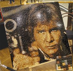 Han Solo LEGO portrait made up of over 20,000 bricks