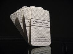 The use of a classic quatrefoil pattern on these business cards imparts a textural effect that is unique to the letterpress process. The cards were printed for Interior Designer Caroline Myers to match her aesthetic and brand identity. Business Card Maker, Black Business Card, Elegant Business Cards, Cool Business Cards, Creative Business, Interior Design Business, Business Card Design, Graphisches Design, Modern Design