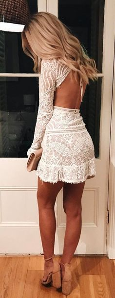Idée et inspiration look d'été tendance 2017 Image Description #summer #outfits White Lace Open Back + Camel Pumps ✨