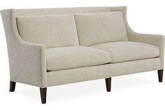 """Living: Apartment Sofas are good size (loveseats are too small)  This is 75"""" -I like the high back to define the entry. Endless finish options"""