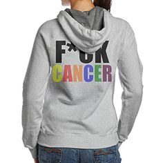 BNBN Womens Fuck Cancer Rainbow Hooded Sweatshirt On The Back Size XXL Ash >>> You can get additional details at the image link. (This is an affiliate link) #ExerciseandFitnessWomensClothing