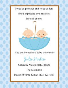 Modern Couples Twin Boy Baby Shower Invitation Twin boys Boy baby