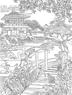 Coloring pages . Japanese house on the river bank . Make your world more colorful with free printable coloring pages from italks. Our free coloring pages for adults and kids. Japanese House, Japanese Art, Japanese Temple, Free Adult Coloring, Japon Illustration, Japanese Landscape, Mandala Coloring, Coloring Book Pages, Asian Art