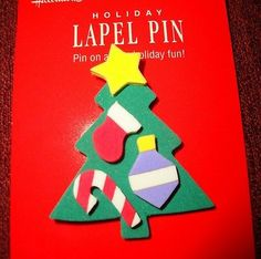 VINTAGE HALLMARK CHRISTMAS TREE W/ CANDY CANE ORNAMENT HOLIDAY LAPEL PIN BROOCH