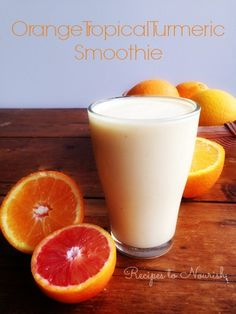 Orange Tropical Turmeric Smoothie ... creamy + refreshing + has the added health benefits of turmeric and vitamin C ... a great immune system booster. | Recipes to Nourish