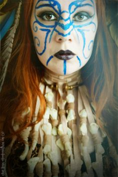 Shaman Warrior II by MADmoiselleMeli on DeviantArt Face Painting Designs, Paint Designs, Wiccan, Magick, Witchcraft, Warrior Makeup, Warrior Outfit, Celtic Warriors, Sacred Feminine