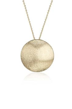 Indulge in the chic style of this button pendant, crafted in satin 14k yellow gold to create added depth.