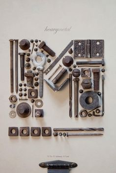 Monogram with scrap nuts and bolts by MarylinJ